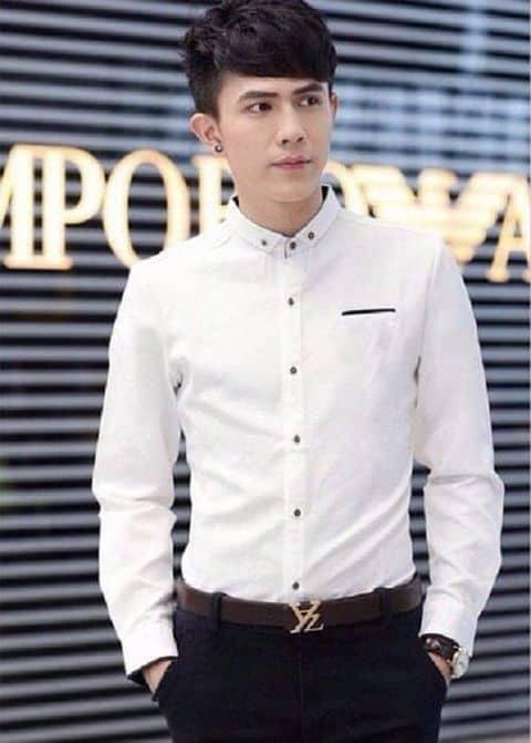 áo Sơ Mi Nam Trơn Cổ Trụ Phối Túi Lịch Lãm Màu Trắng Tại Cầu Giấy Hà