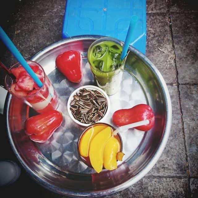 Cafe + sữa chua dâu + trà xanh thái của Thu Hương tại Cafe Cường - Hàng Tre - 69768