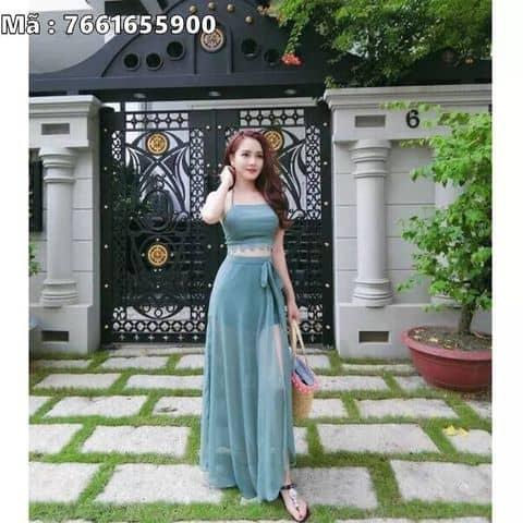 Kiểu Dáng Set áo Yếm Và đầm Maxi Phối Ren Set áo Hai Dây Chân Váy