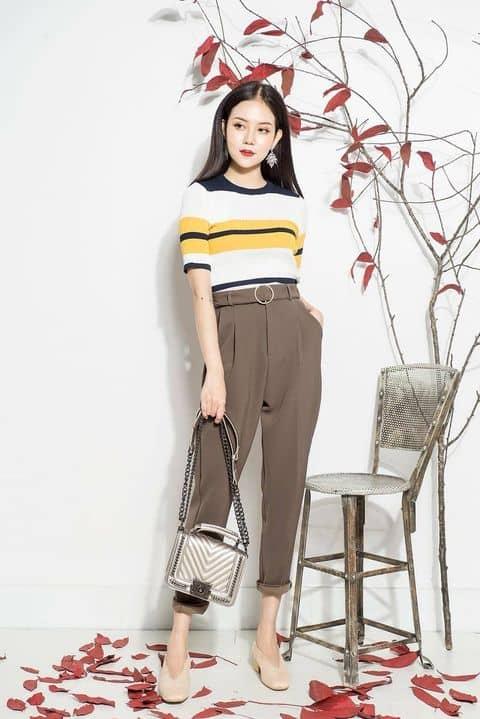 Cách phối đồ với quần baggy vải dành cho cô nàng công sở