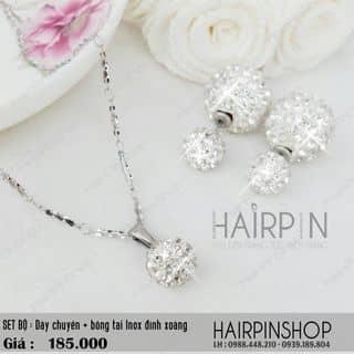 Set trọn bộ Inox : dây chuyền + bông tai đính xoàng thời trang của hairpincat tại An Giang - 1419490