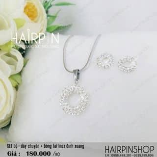 Set trọn bộ Inox : dây chuyền + bông tai đính xoàng thời trang của hairpincat tại An Giang - 1419517