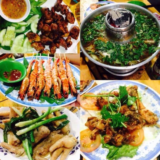 Tim gà nướng + tôm nướng + chân gà hấp hành + ếch chiên nước mắm + lẩu ếch của Nguyễn Như tại Lẩu Ếch Sáu Hiếu - 176795